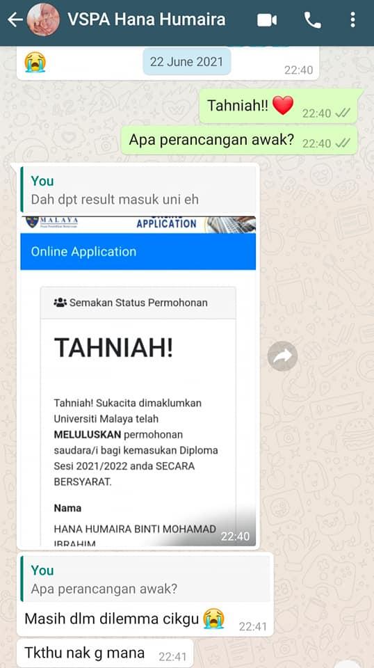 Tahniah Dapat Tawaran Sambung Belajar Universiti Malaya